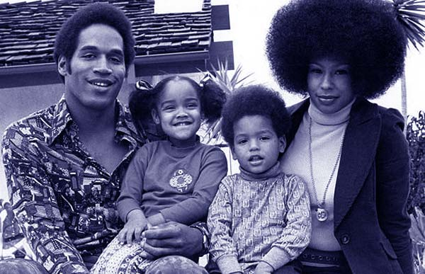 Image of  Caption: O.J. Simpson with daughter Arnelle, son Jason and first wife Marguerite Whitley
