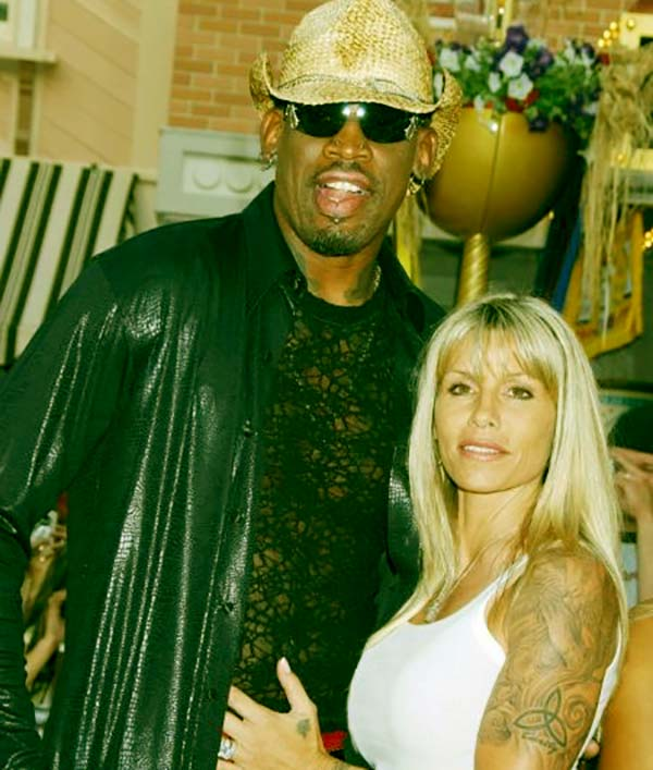 Image of Dennis Rodman with his firs wife Annie Bakes