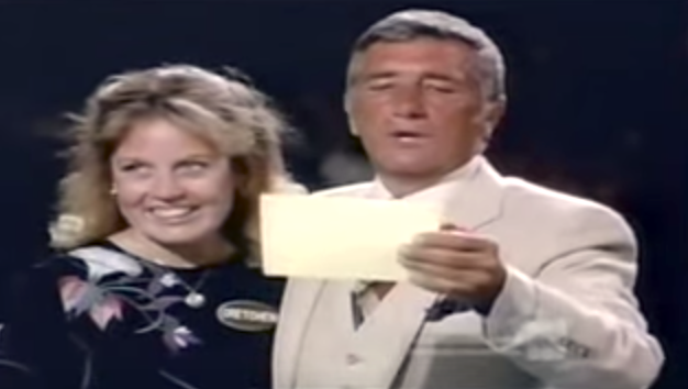 Photo of Richard Dawson and Gretchen Johnson in Family Feud.