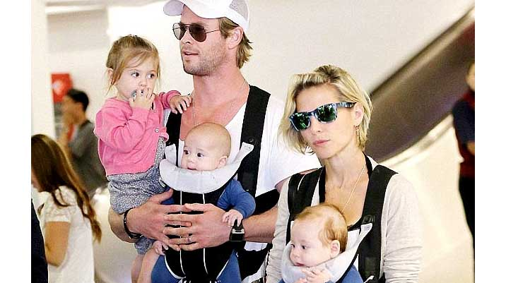 Image of Chris Hemsworth's son and daughter.
