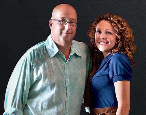 Image of chef, Andrew Zimmern and his wife, Rishia Haas.