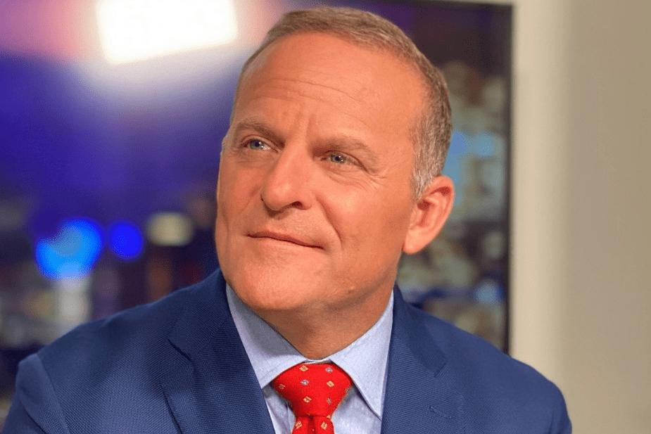 Images of the host of the NewsMax show, Grant Stinchfield